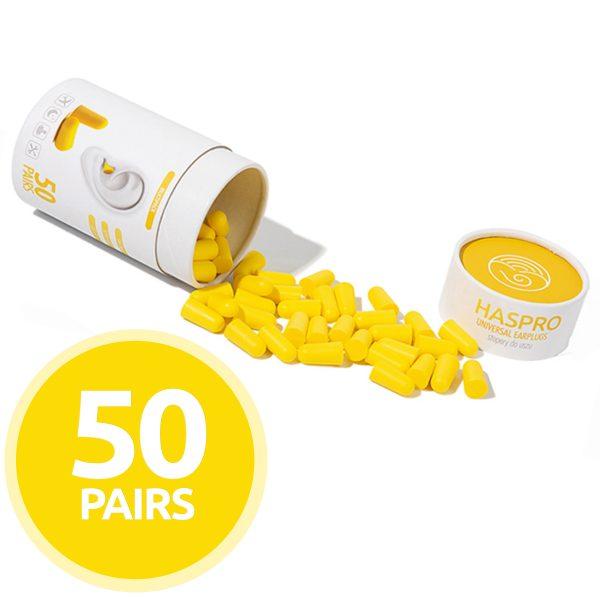 Cepki-za-usesa-iz-pene-Zascita-sluha-HASPRO-yellow-AUDIO-BM-slusni-aparati-50-parov-pakiranje